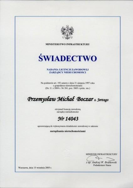 świadectwo licencji zawodowej zarządcy nieruchomości Przemysław Boczar