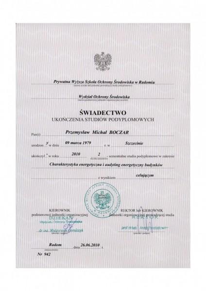 świadectwo ukończenia studiów podyplomowych Przemysław Boczar