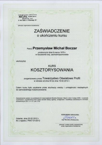 kurs kosztorysowania świadectwo Przemysław Boczar