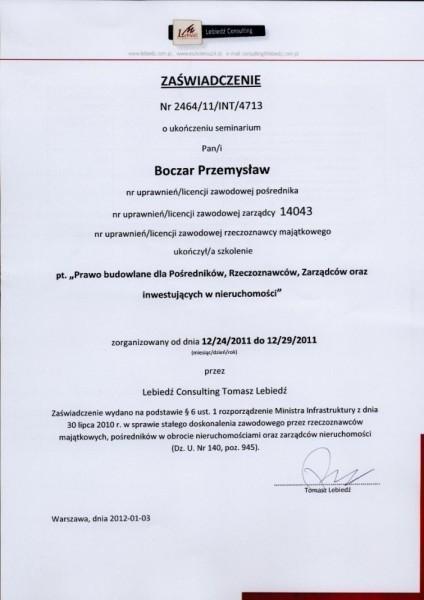 świadectwo ukończenia seminarium prawo budowlane Przemysław Poczar